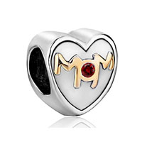 Mom Charms Heart Swarovski Crystal
