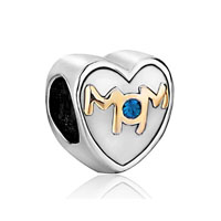 Mom Charms Heart Blue Swarovski