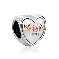 Swarovski Elements Heart Mom Charms