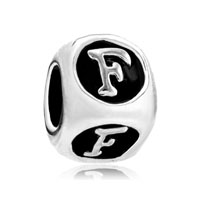 Dice Shaped Letter Bracelet Charms Initial F Alphabet European Bead