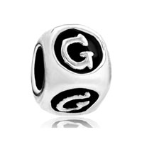 Dice Shaped Letter Bracelet Charms Initial G Alphabet European Bead