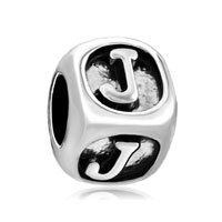Dice Shaped Letter Initial J Alphabet Beads Charms Bracelets Fit All Brands