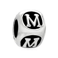 Letter Bracelet Charms Initial M Cube Dice Alphabet European Bead