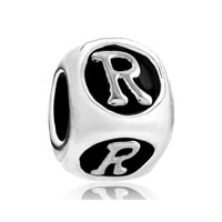 Diceshaped Letter Bracelet Charms Initial R Alphabet European Bead
