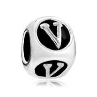 Dice Shaped Letter Bracelet Charms Initial V Charm Alphabet Beads