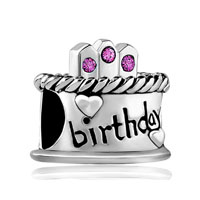 February S Birthday Cake Purple Crystal Candles Holiday Bead Charm