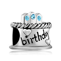 March S Birthday Cake Aquamarine Crystal Candles Holiday Bead Charm