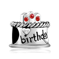 July S Birthday Cake Red Crystal Candles Holiday Bead Charm Bracelet