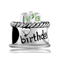 August S Birthday Cake Peridot Crystal Candles Holiday Bead Charm