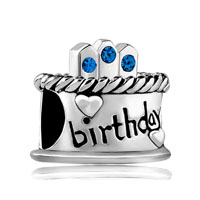 September S Birthday Cake Sapphire Crystal Candles Holiday Bead Charm