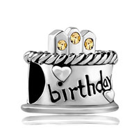 November Birthday Cake Citrine Crystal Candles Holiday Bead Charm