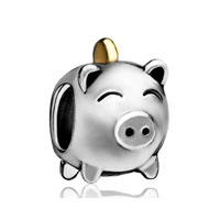 Silver Plated Pig Money Box European Bead Charm Bracelets For Women