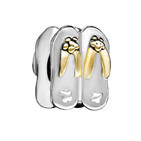 Silver Plated Stylish Flip Flop European Bead Charms Bracelets