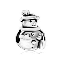 Silver Plated S Snowman Dressed Up European Bead Charms Bracelets