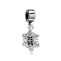 Snowflake With Aquamarine Blue March Births Charm Spacers Dangle