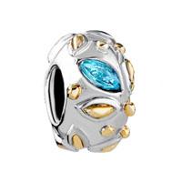 Silver May Birthstone Leaf Charm Bracelet Spacer European Bead