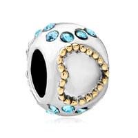 European Bead March Birthstone Heart Charm Bracelet Charm Love