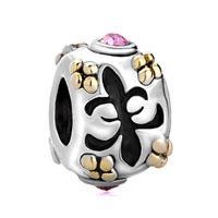Silver Pink Swarovski Element Crystal Fleur De Lis Charm Bracelet