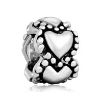 Silver Plated Heart Charm Bracelet Spacer European Bead Pattern