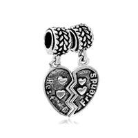 Silver Best Friend Charm Bracelet Combined Heart European Bead