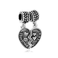 Mom Charms Heart Love Beads