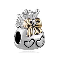 Silver Bow Bowknot Heart Charm Bracelet Love Bag Lover European Bead