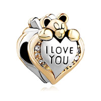 Silver P Heart Crystal I Love You Bear For Gold Plated Beads Charms Bracelets Fit All Brands