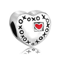 Red Heart Charm Bracelet Xoxo Hugs Kisses Love Charm European Bead