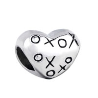 Silver Plated Hugs Kisses Xoxo Heart Charm Bracelet European Bead