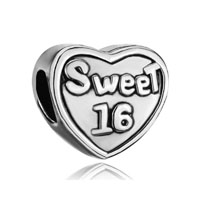 Silver Plated Heart Charm Bracelet Words Sweet 16 European Bead