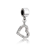 Silver Crystal Open Heart Charm Bracelet Dangle Silver European Bead
