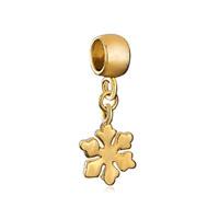 Silver Plated Golden Snowflake Dangle European Bead Charm Bracelets