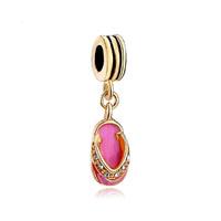 Silver Plated Gold Pink Slipper Sandal Charm Bracelet Spacers Dangle