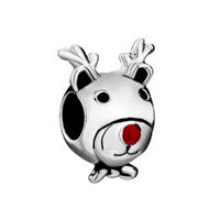 Silver Plated Cartoon Deer Red Nose European Bead Charms Bracelets