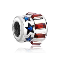 Bolt Blue Red Crystal Fit All Brands Beads Charms Bracelets