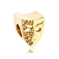 November Birthstone Mask Golden Gold Plated Beads Charms Bracelets Fit All Brands
