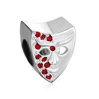Garnet Red Bling Swarovski Crystal Mask Beads Charm Bracelet Jewelry