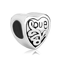 Jewelry 925 Sterling Silver Engraved Heart Love Beads Charms Bracelets Fit All Brands