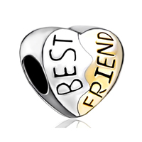 925 Sterling Silver Heart Engraved Best Friend Golden Fits Beads Charms Bracelets Fit All Brands