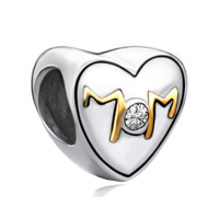 Mom Mother Daughter 925 Sterling Silver Golden Heart Beads Charms Bracelets Fit All Brands