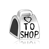 925 Sterling Silver Love To Shop Bag Handbag Beads Charms Bracelets Fit All Brands