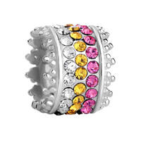 925 Sterling Silver Clear Citrine Pink Crystal Jewelry Beads Charms Bracelets Fit All Brands