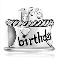 925 Sterling Silver White Crystal Charms Birthday Cake Beads Bracelet