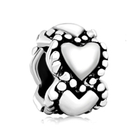 925 Sterling Silver Hearts Love Fits Beads Charms Bracelets Fit All Brands