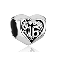 Pugster Sweet 16 Heart 925 Sterling Silver For Beads Charms Bracelets Fit All Brands