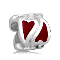 925 Sterling Silver Red Heart Love Jewelry Fits Beads Charms Bracelets Fit All Brands