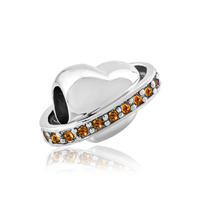925 Sterling Silver Topaz Yellow Crystal Heart Fits Hot Beads Charms Bracelets Fit All Brands
