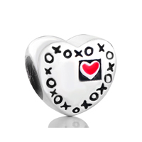 925 Sterling Silver Heart Engraved Xoxo Red Love Jewelry Gift Fits Beads Charms Bracelets Fit All Brands