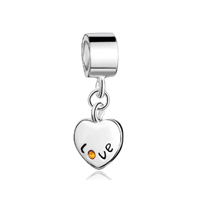 Sterling Silver Heart Love November Topaz Crystal Dangle Beads Charms Bracelets Fit All Brands
