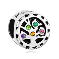 925 Sterling Silver Family Of Tree Colorful Crystal Fits Beads Charms Bracelets Fit All Brands